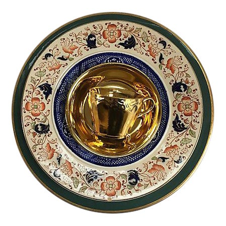Vintage Mixed Gold & Green Place Setting - Set of 5 - Image 1 of 9