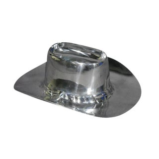 Heavy Polished Aluminum Cowboy Hat Chip & Dip Centerpiece For Sale