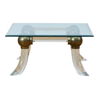 Hollywood Regency Lucite and Brass Tusk Side Table For Sale