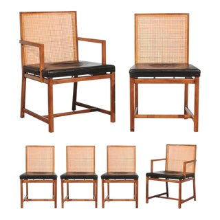 Rare Surviving Set of Six Coveted Cane Dining Chairs by Michael Taylor for Baker