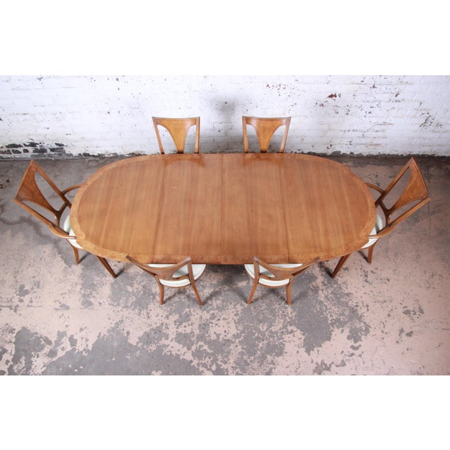 Romweber Romweber Mid-Century Modern Cherry and Burl Wood Dining Set, 1960s - Set of 7 For Sale - Image 4 of 13