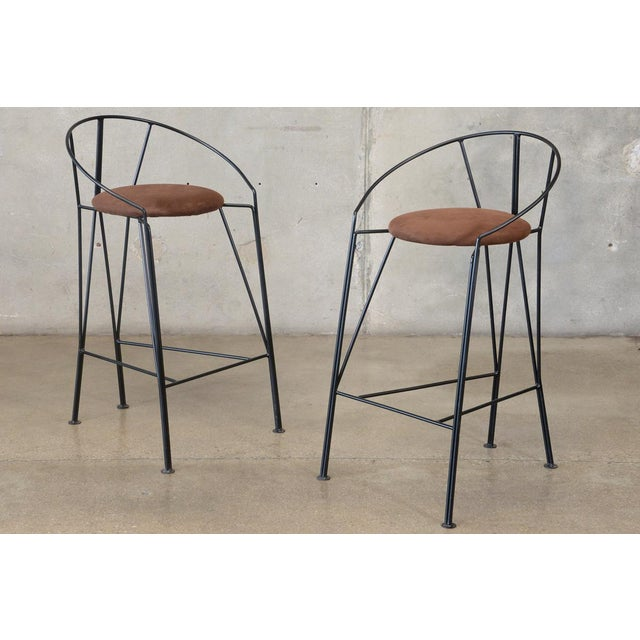 Unique Black-Painted Iron Barstools -- A Pair - Image 2 of 4