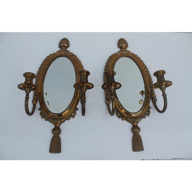 Italian Brass Mirrored Candle Sconces - A Pair - Image 8 of 8