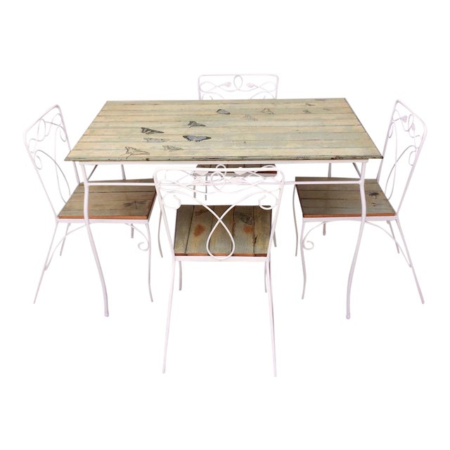 Vintage Woodard Metal and Bead Board Patio Set - Table and 4 Chairs For Sale