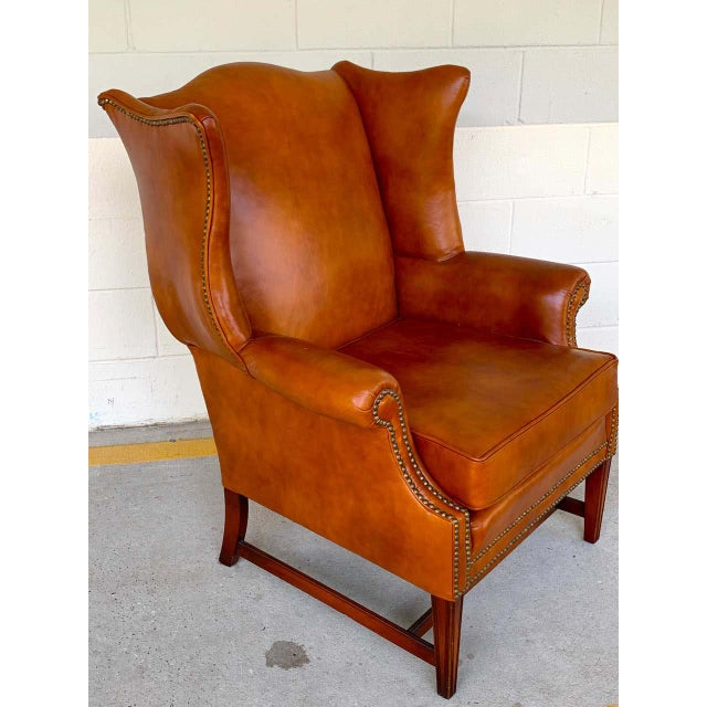 English Saddle Leather Mahogany Wingback Chair For Sale - Image 4 of 9