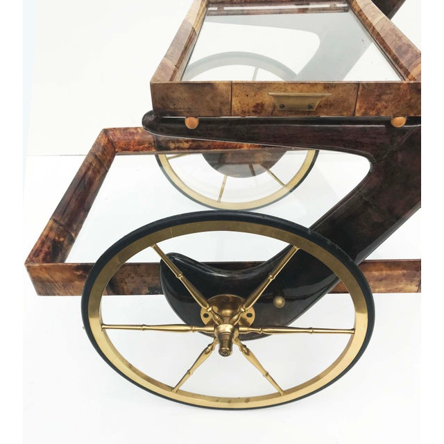 Aldo Tura Goatskin and Lacquer Bar Cart For Sale In Miami - Image 6 of 9