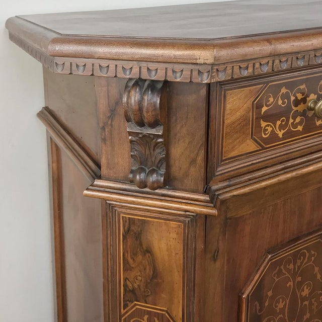 Early 20th Century Antique Italian Baroque Inlaid Walnut Buffet For Sale - Image 5 of 13