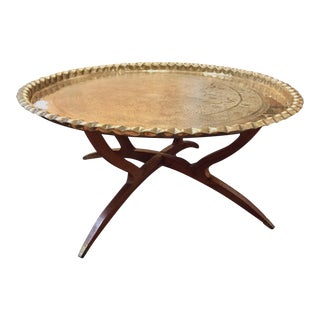 Vintage Mid-Century Moroccan Hammered Brass Tray Spider Leg Table For Sale