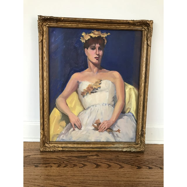Portrait of a Woman in White Dress For Sale - Image 9 of 9
