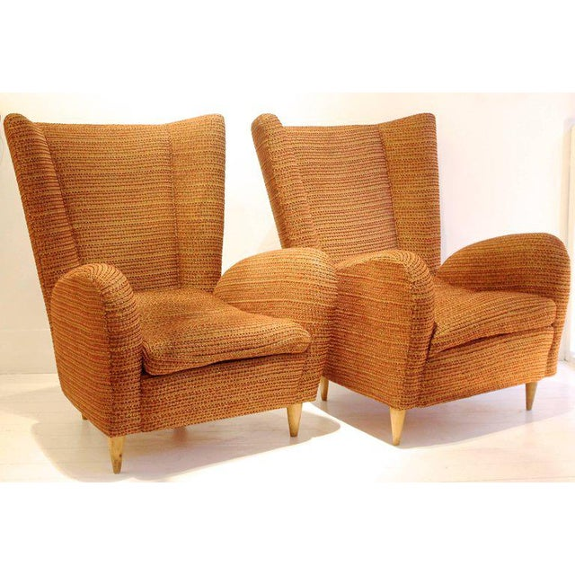 Pair of 1950s Italian Armchairs Attr. to Paolo Buffa, Robert Allen Upholstery For Sale - Image 6 of 6