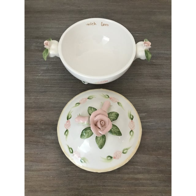 Vintage 1950's Christina Ladas for Silvestri Hand painted white porcelain trinket box with lid. Pink roses and green leaf...