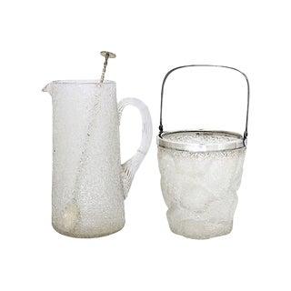 1920s Crackle Glass Beverage Set, 3Pcs For Sale