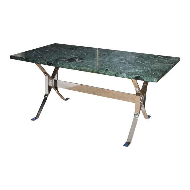 Albrizzi Steel Base Trestle Table with Serpentina Verde Marble Top For Sale