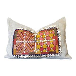 Heshini Jumlo Shell Embellished Pillow For Sale