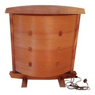 Japanese Wood Table Lamp For Sale