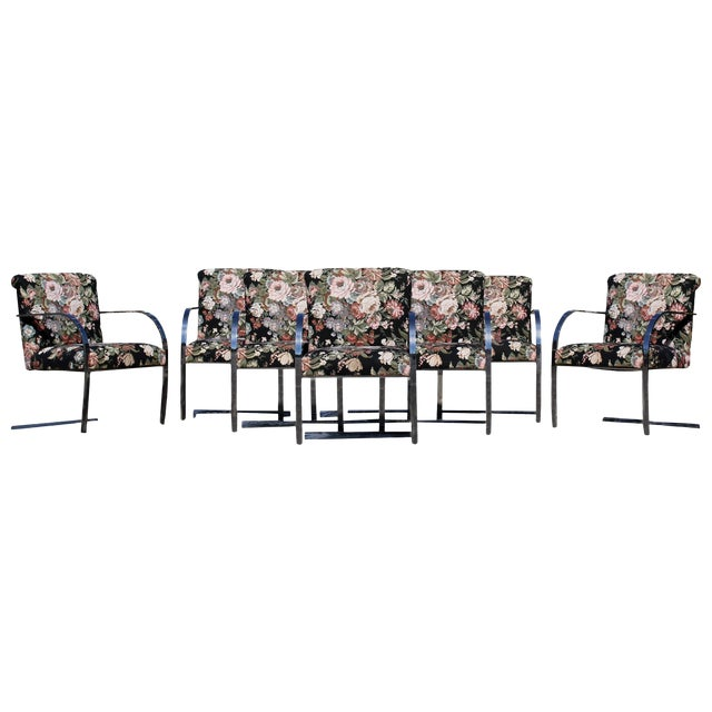 Mid-Century Modern Set Eight Chrome Cantilever Dining Armchairs Knoll Attributed For Sale