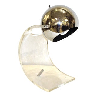Vintage Sonneman Lucite and Chrome Table Lamp For Sale