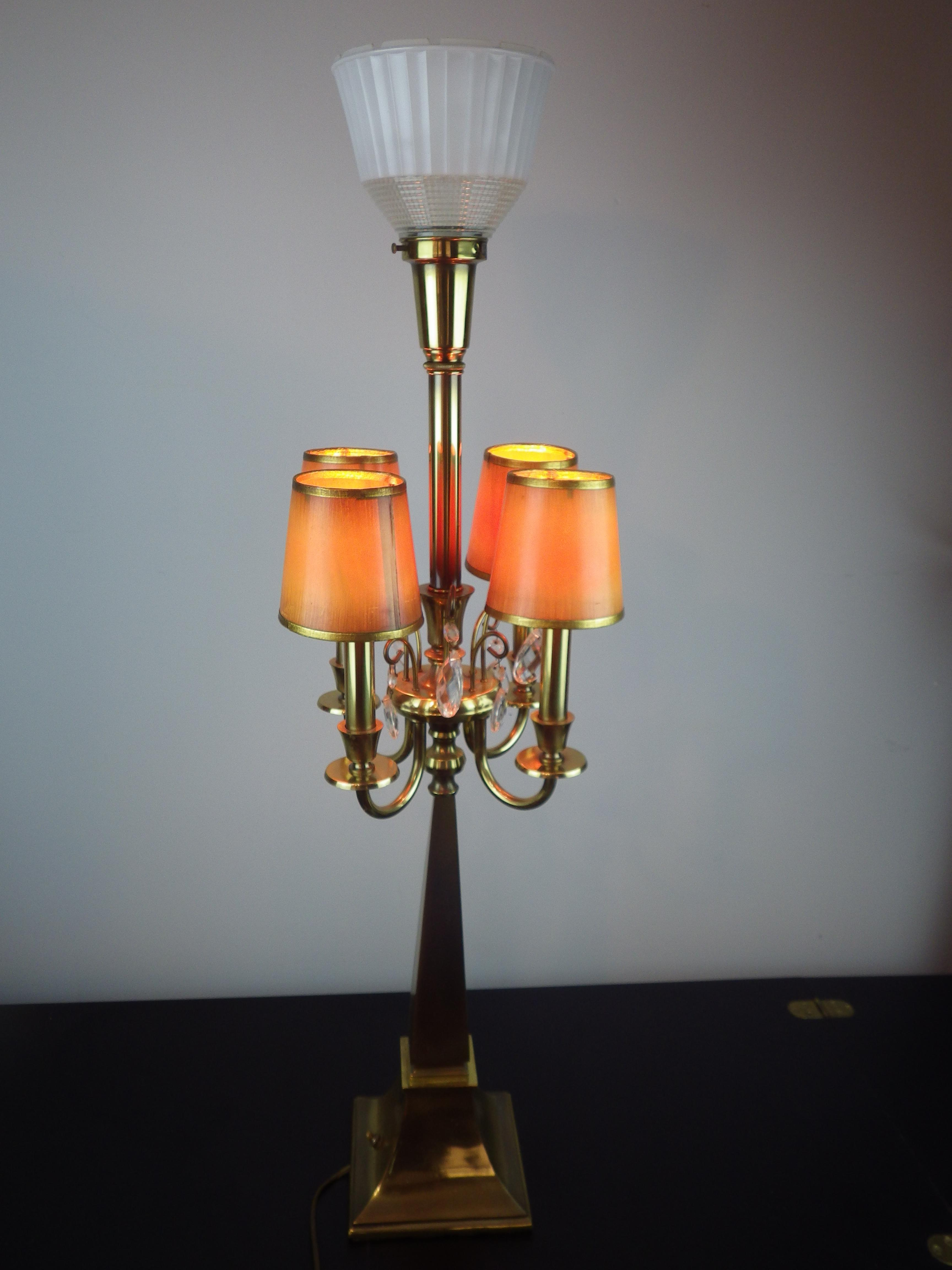 Exceptionnel Hollywood Regency Rembrandt Lamp Company Brass Candelabra Table Lamp For  Sale   Image 3 Of 13