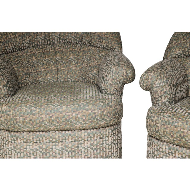 Pair Mid Century Modern Swivel Lounge Chairs - Image 3 of 9