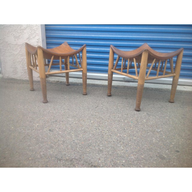 2010s Modern Mid Century Style Accent Stools- A Pair For Sale - Image 5 of 6