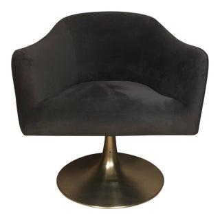 West Elm Grey Velvet Swivel Chair For Sale