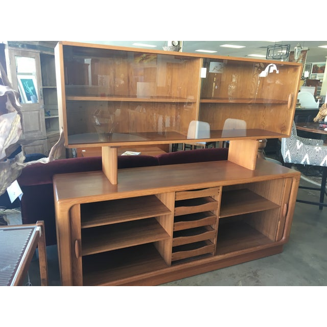Mid-Century Modern 1950s Mid Century Modern Solid Teak Sideboard and Floating Hutch With Accordion Doors For Sale - Image 3 of 12
