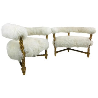 Pair of Mongolian Lamb Chairs For Sale