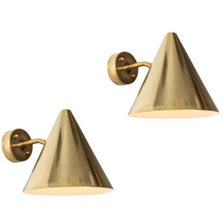 Hans-Agne Jakobsson 'Tratten' Polished Brass Outdoor Sconces - a Pair For Sale