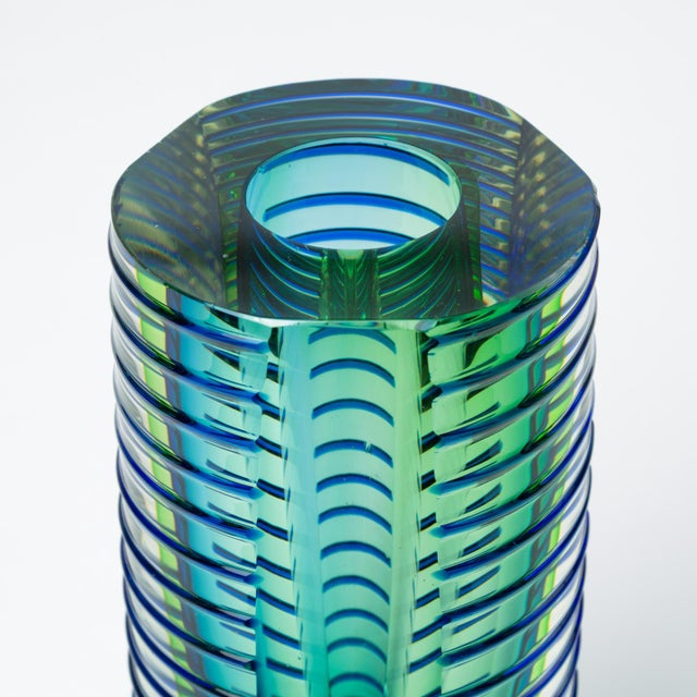 1980s Postmodern Glass Vase or Candlestick For Sale - Image 11 of 13