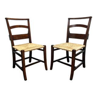 Jonathan Charles Rustic Walnut Church Side Chairs With Rush Seats - Pair 1 For Sale