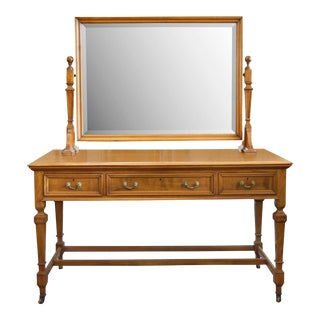 1900's English Beechwood Vanity/Dressing Table With Bevel Glass Mirror For Sale