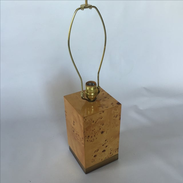 Burl & Brass Lamp in the Style of Milo Baughman - Image 2 of 6