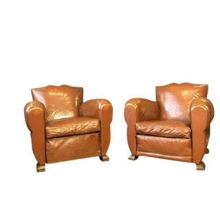 1930s Vintage French Moustache Back Club Chairs- A Pair For Sale
