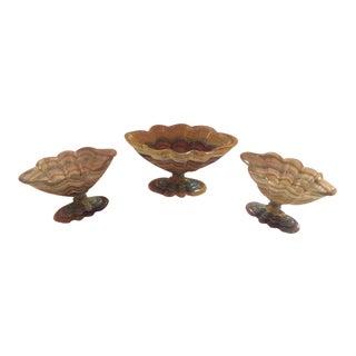 Fluorite Rock Crystal Carved Oval Pedestal Bowls - Set of 3 For Sale