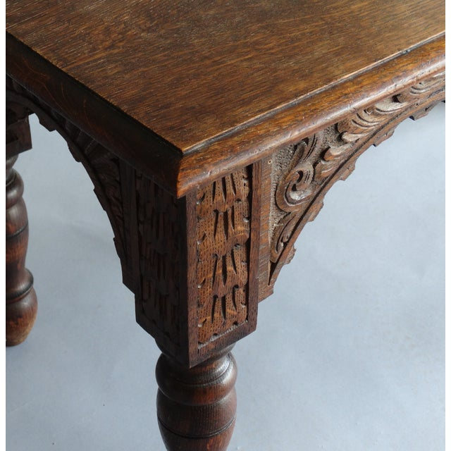 French Antique French Carved Oak Bench For Sale - Image 3 of 11
