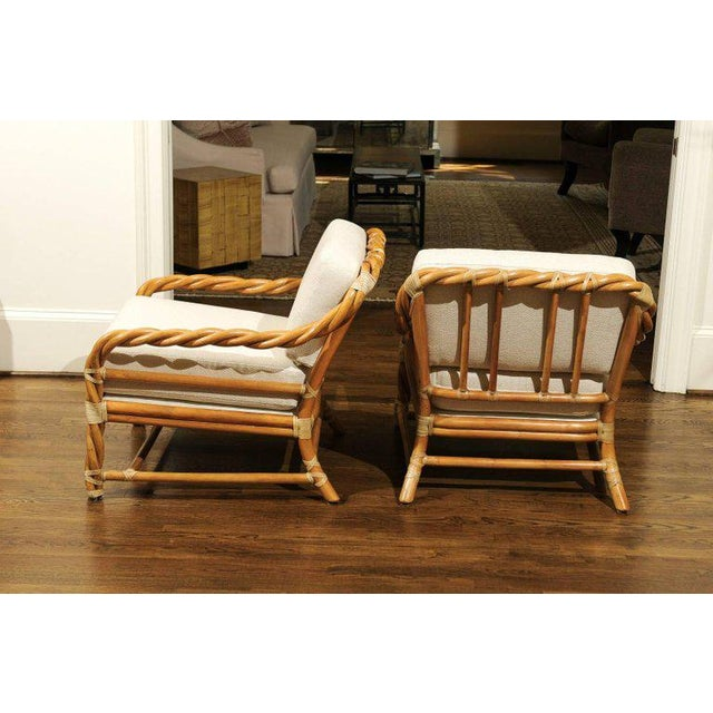 McGuire 1980s Pair of Restored Braided Rattan Loungers by McGuire For Sale - Image 4 of 11