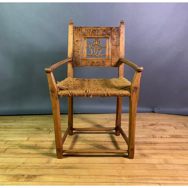 1823 Danish Carved Pine and Rope Armchair, Crowned Monogram For Sale - Image 12 of 12
