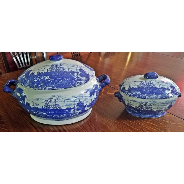 Pair of 19c Staffordshire Ironstone Lidded Tureens of Shipping Scenes For Sale - Image 11 of 13