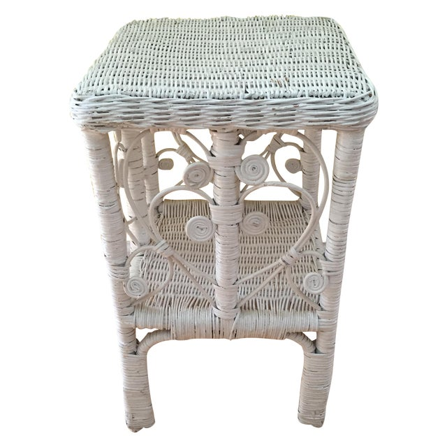 White Wicker Scrolling Detail Side Table - Image 1 of 6