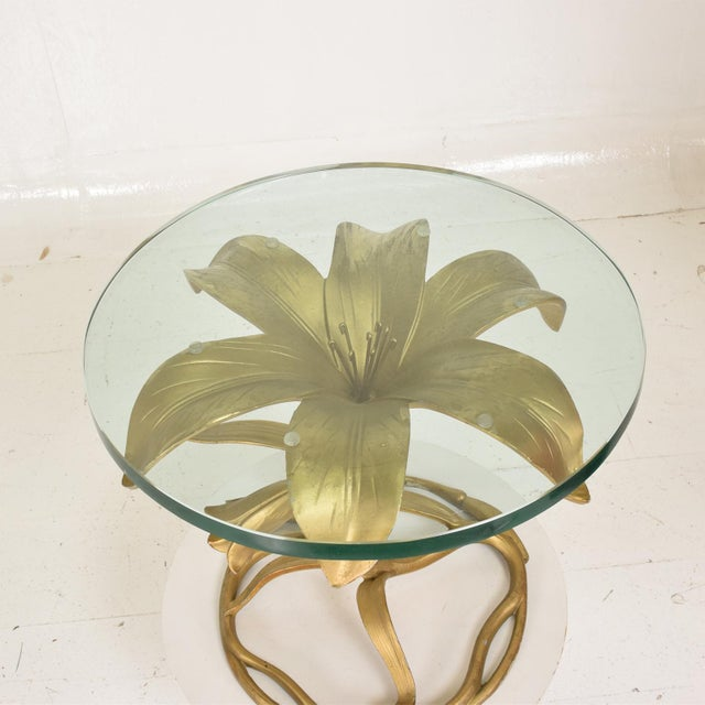 Gold Hollywood Regency Side Aluminum Table by Arthur Court, Gilded Lily For Sale - Image 8 of 10