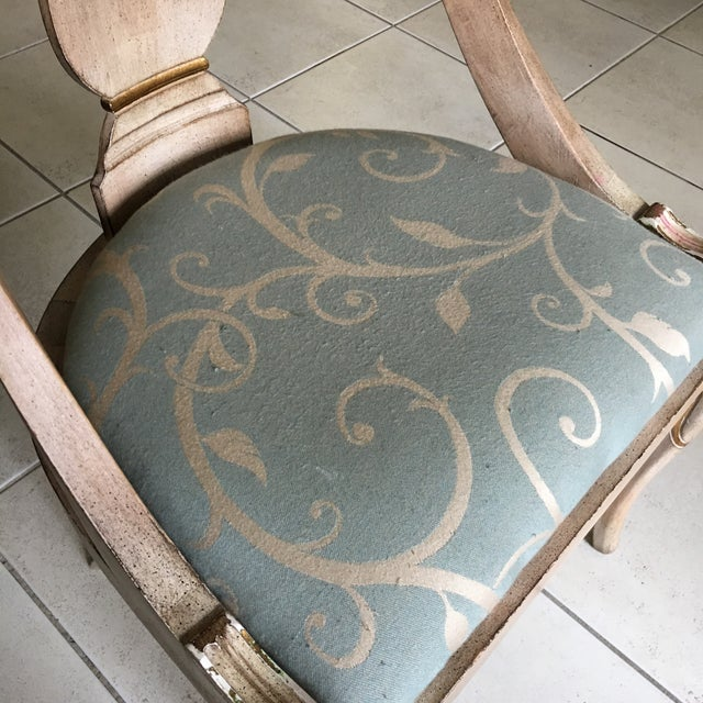 Textile Roman Style Library Chairs - A Pair For Sale - Image 7 of 11