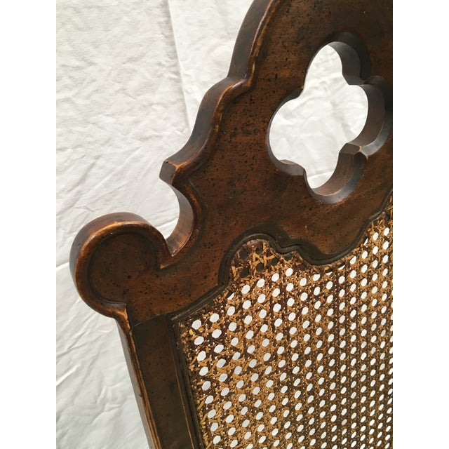 French Oak Cane Back Upholstered Chairs - A Pair - Image 10 of 11