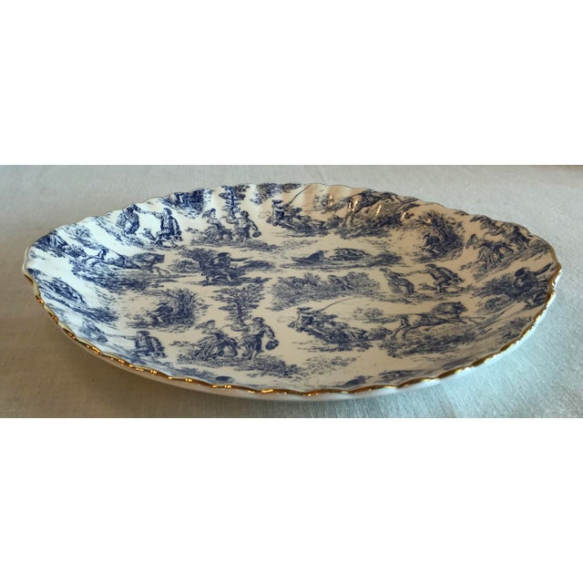 Blue & White Staffordshire Toile Platter For Sale - Image 4 of 9