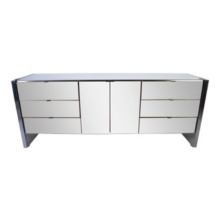 Ello Furniture Smoked Mirror and Chromed Steel Credenza For Sale