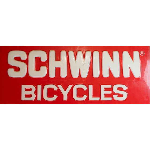 Industrial Vintage Acrylic Lucite Reverse Embossed Schwinn Bicycle Sign For Sale - Image 3 of 6