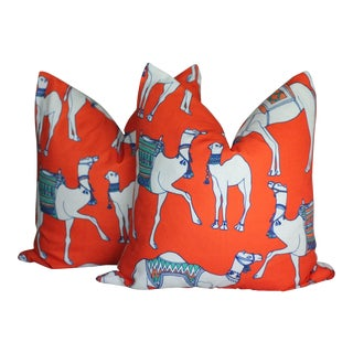 Orange Camel Cotton & Quill Pillows - a Pair For Sale