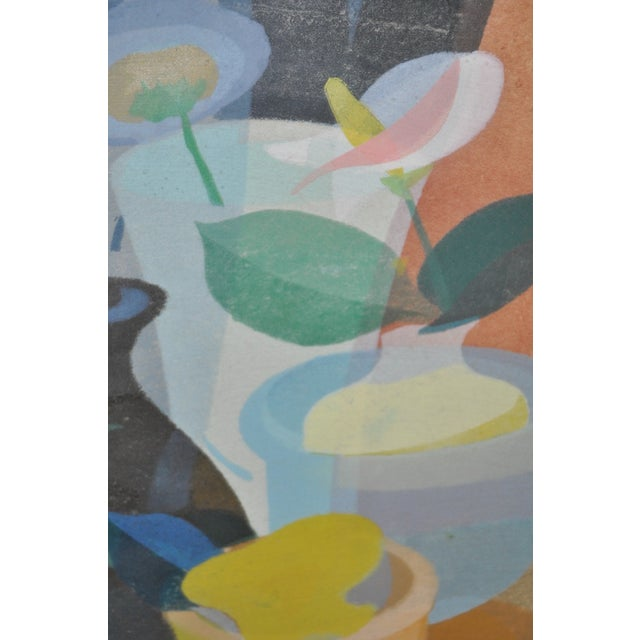 Printmaking Materials 1950s Still Life with Flowers Woodblock For Sale - Image 7 of 8
