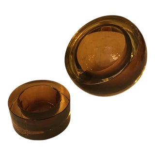 Hand-Blown Art Glass Angled Sphere Ashtray and Cachepot, Mid-Century For Sale