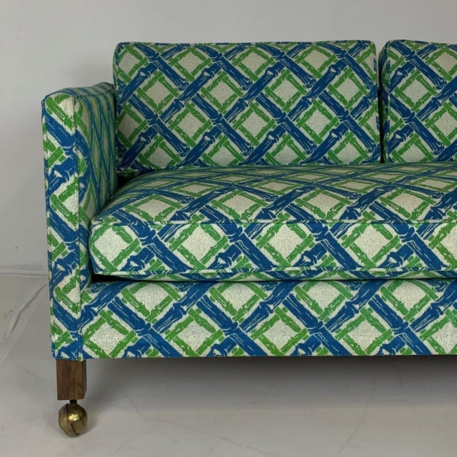 Green Tuxedo or Parsons Settees / Sofas in Textured Lattice Bamboo Upholstery - a Pair For Sale - Image 8 of 10