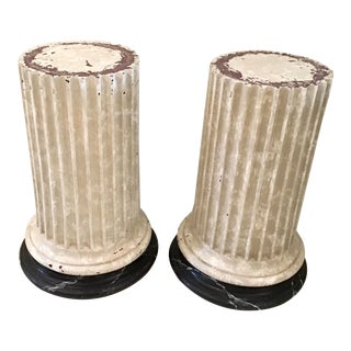 French Medium Height Pedestals in a Faux Marble Finish - a Pair For Sale